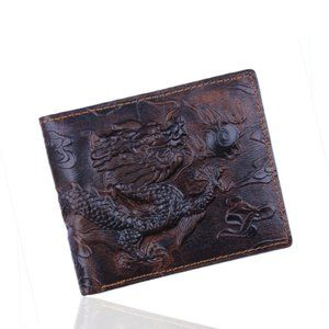 Dragon Engraved Genuine Leather Bifold Mens Wallet